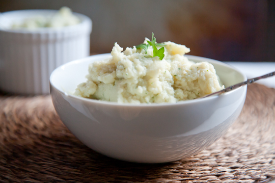 "Healthy Mashed ""Potatoes"" made with Cauliflower and Beans! Only 30 minutes start to finish. 