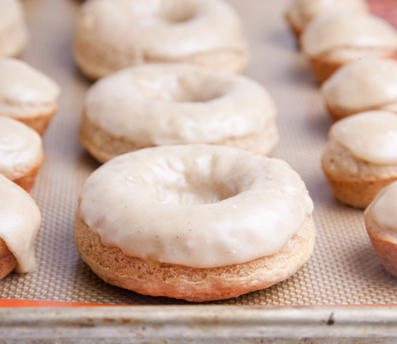 Peanut Butter Frosted Banana Donuts