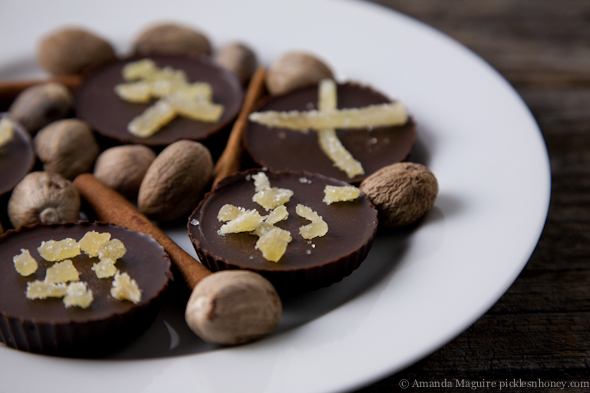 Vegan Gingerbread Dark Chocolate with Crystallized Candied Ginger // Pickles & Honey