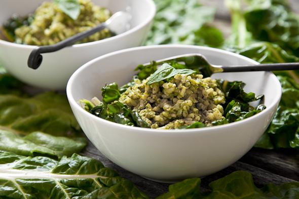 Pesto Brown Rice with Sautéed Swiss Chard (Vegan & GF) | picklesnhoney.com #vegan #pesto #recipe