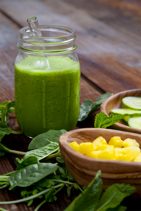 Dehydration-Busting Pineapple Cucumber Mint Smoothie   picklesnhoney.com