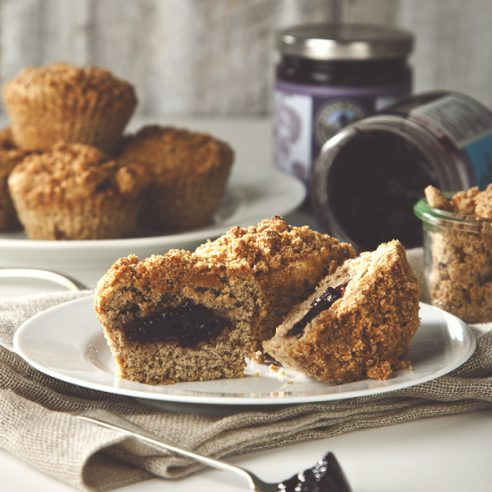 Banana Coffee Cake Muffins with Blueberry Elderberry Filling (vegan) + Norm's Farms Giveaway | picklesnhoney.com