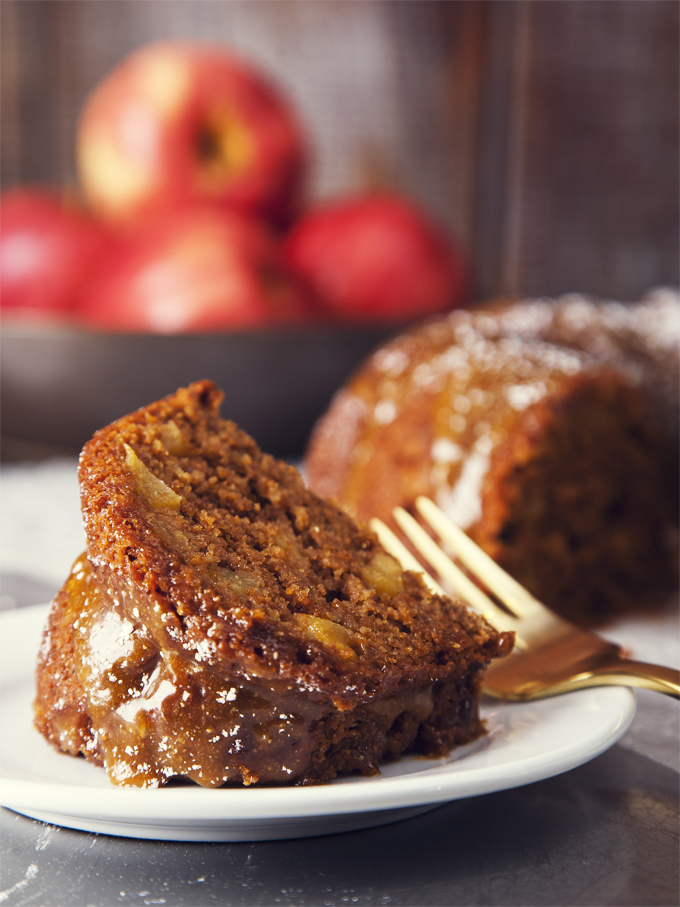 Spiced Apple Cider Spelt Cake with Vegan Caramel Sauce | picklesnhoney.com