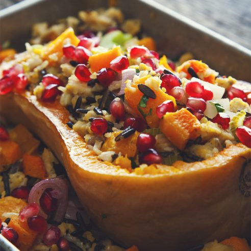 Stuffed Butternut Squash with Tempeh aka healthy comfort food at its finest! So flavorful, satisfying, and pretty too! | picklesnhoney.com #butternut #squash #tempeh #stuffed #thanksgiving #fall #winter #recipe #vegan #glutenfree #main #lunch #dinner