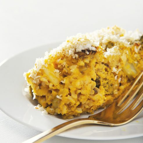Make-Ahead Broccoli Cheese and Rice Casserole (Vegan, Gluten-Free Option) | picklesnhoney.com