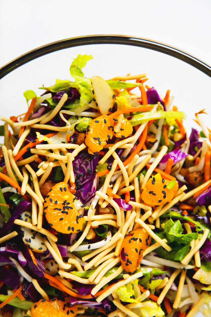 """Vegan Chinese """"Chicken"""" Salad! With crispy sticky/sweet roasted chickpeas in place of chicken—healthy and totally addictive! 