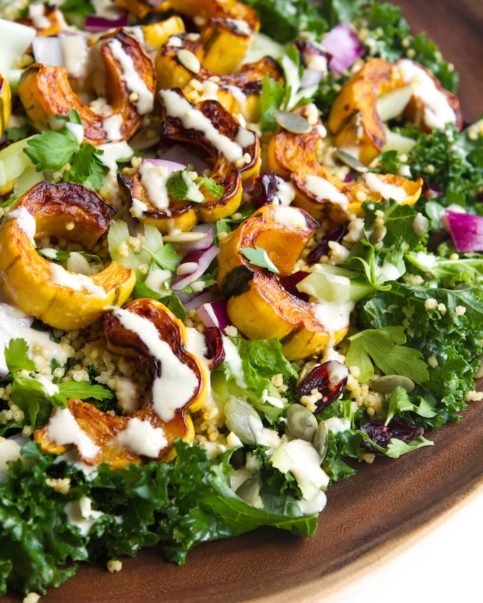 Oh She Glows Kale Salad with Delicata Squash, Quinoa, & Lemon- tahini Dressing | Just 10 Ingredients + 30 Minutes to Prep! | picklesnhoney.com #ohsheglows #kale #salad #recipe #vegan #glutenfree #thanksgiving #quinoa #squash #lemon #tahini