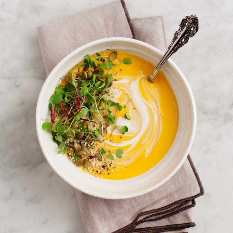 Carrot Gazpacho with Lemongrass from The Love & Lemons Cookbook (Vegan & Gluten-free) | picklesnhoney.com #vegan #glutenfree #loveandlemons #gazpacho