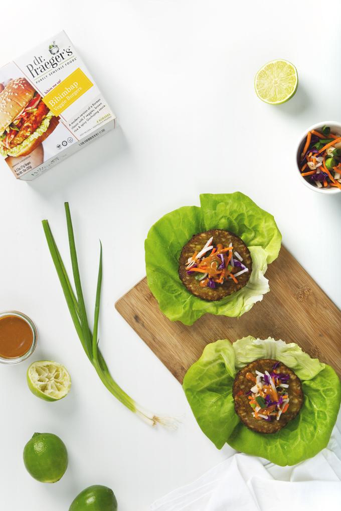 Bibimbap Veggie Burger Lettuce Wraps with Peanut Sauce | picklesnhoney.com #vegan #bibimbap #veggieburgers