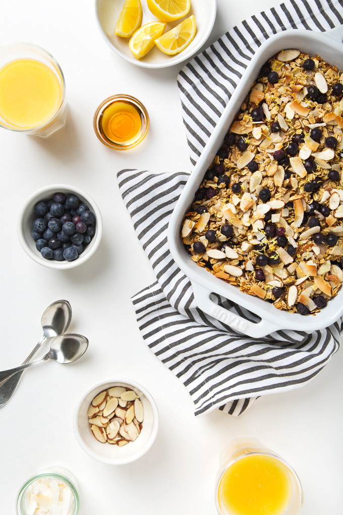 Coconut, Lemon & Blueberry Baked Oatmeal | picklesnhoney.com #vegan #glutenfree #oatmeal #breakfast #recipe