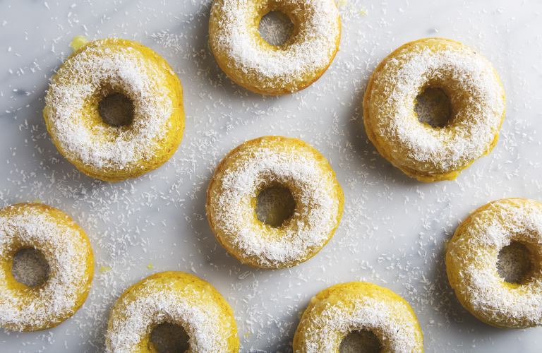 Turmeric Lemon Coconut Donuts | picklesnhoney.com #donuts #coconut #turmeric #lemon #dessert