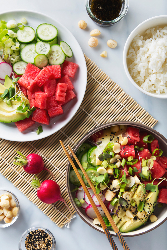 Watermelon Poke Bowl | picklesnhoney.com #watermelon #poke #recipe #lunch #dinner #vegan