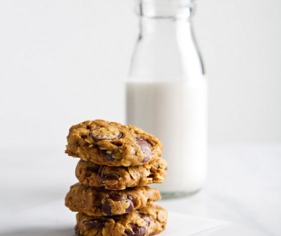 Pumpkin Oatmeal Chocolate Chip Cookies | picklesnhoney.com #pumpkin #vegan #cookies #recipe #dessert #fall