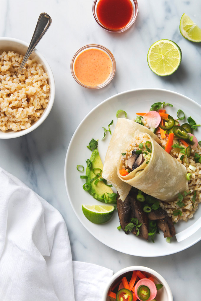 Mushroom Banh Mi Burritos | picklesnhoney.com #vegan #banhmi #burrito #lunch #dinner #recipe #mushroom
