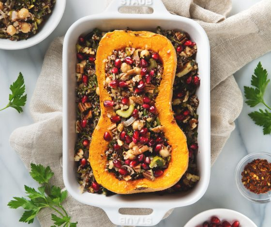 Stuffed Butternut Squash with Quinoa Salad | picklesnhoney.com #butternut #squash #quinoa #salad #recipe #fall #thanksgiving