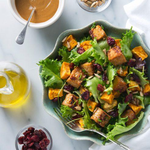 Sweet Potato Salad with Tempeh & Maple Mustard Dressing | picklesnhoney.com #salad #vegan #sweetpotato #tempeh #lunch #dinner #recipe