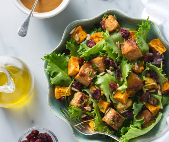 Sweet Potato Salad with Tempeh & Maple Mustard Dressing | picklesnhoney.com #salad #vegan #sweetpotato #tempeh #lunch #dinner #recipe
