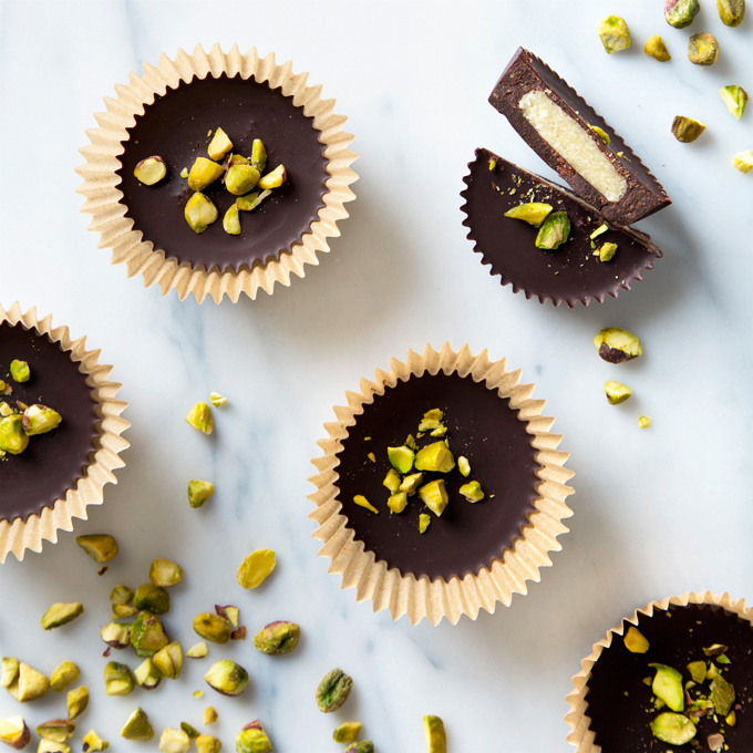 Marzipan Dark Chocolate Cups with Salted Pistachios | picklesnhoney.com #vegan #chocolate #marzipan #dessert #recipe