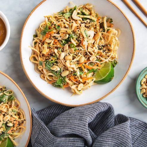 Better-Than-Takeout Thai Noodle Salad with Peanut Dressing | picklesnhoney.com #vegan #thai #noodles #salad #recipe #lunch #dinner