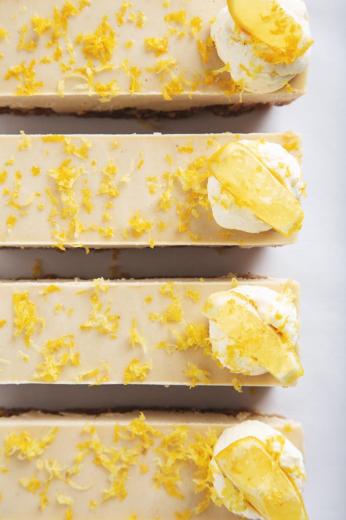 No-Bake Lemon Cheesecake Bars (15 minute to assemble!) | picklesnhoney.com #vegan #lemon #cheesecake #recipe #dessert #nobake #glutenfree
