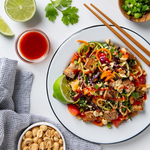 Rainbow Vegetable Pad Thai with Tofu! | picklesnhoney.com #tofu #padthai #vegan #glutenfree #lunch #dinner #recipe