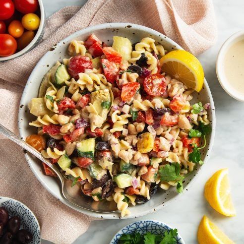 30-Minute Creamy Tahini Pasta Salad (Vegan & Gluten-Free!) | picklesnhoney.com #tahini #pasta #salad #side #main #lunch #dinner #recipe #vegan #glutenfree