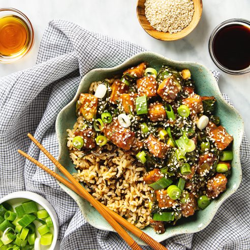 Better-Than-Takeout Crispy Sesame Tofu with Wild Rice (Vegan + Gluten-Free!) | picklesnhoney.com #sesame #tofu #rice #lunch #dinner #main #recipe #vegan #glutenfree