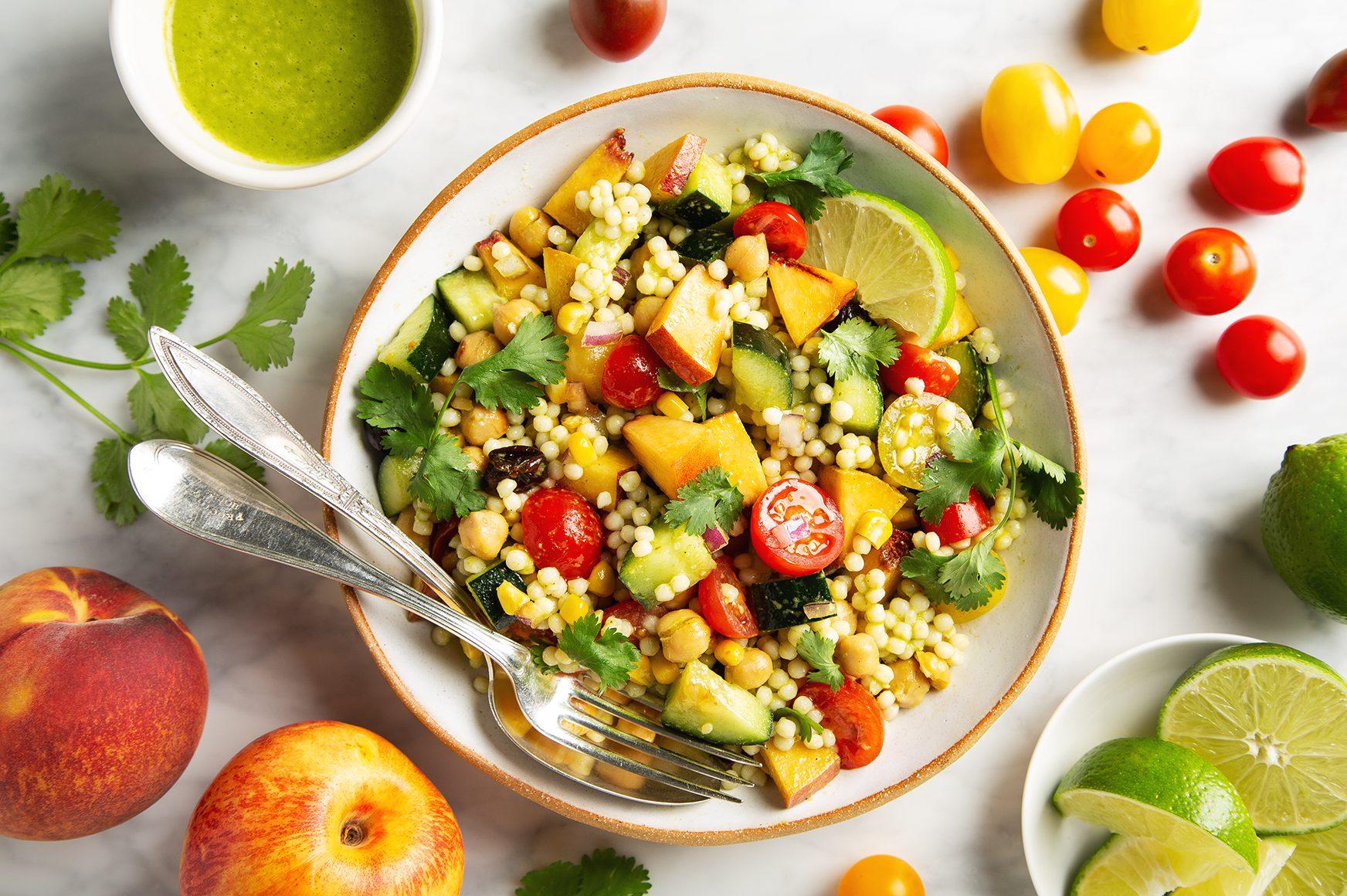 Summer Couscous Salad with Cilantro Lime Vinaigrette   picklesnhoney.com #summer #couscous #salad #cilantro #lime #vinaigrette #side #lunch #dinner #vegan #recipe