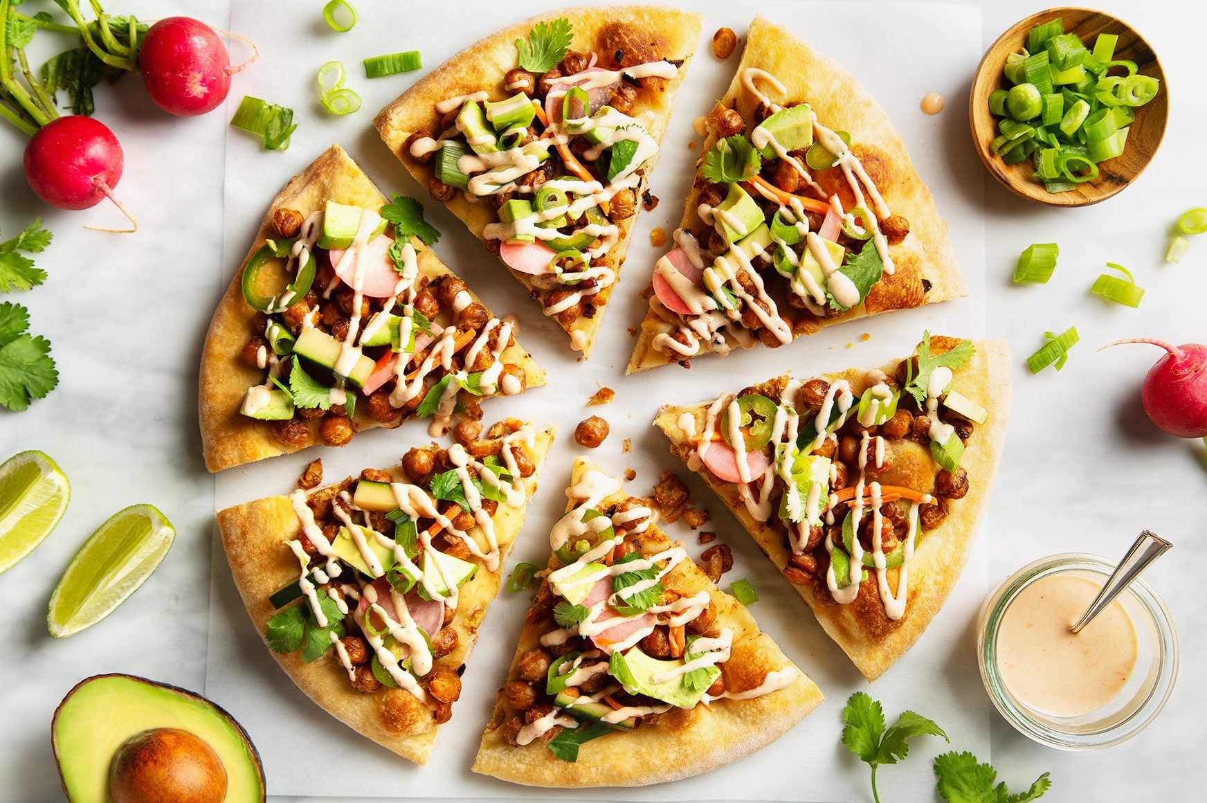 Crispy Chickpea Banh Mi Pizza with Quick Homemade Pickles! | picklesnhoney.com #chickpea #banhmi #pizza #vegan #lunch #dinner #recipe