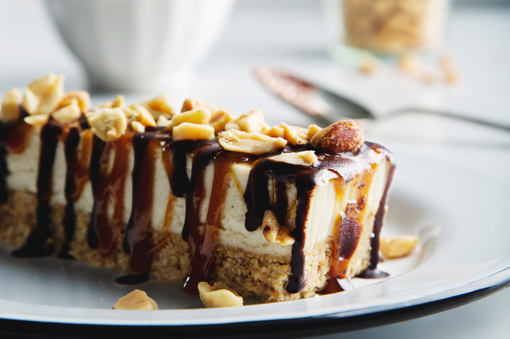 No-Bake Vegan Snickers Cheesecake Bars   picklesnhoney.com #vegan #snickers #cheesecake #dessert #recipe #glutenfree